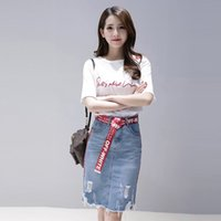 Sexy Alças Camiseta + Denim Buraco Bodycon saia Define 2019 New Summer Fashion Elegante 2 Piece Set Mulheres Stripe Saias Ternos Y19042901