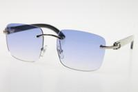 Toptan Rimless kutusuyla Dikey çizgili güneş gözlüğü 8200816 Rimless Sıcak Unisex gözlüklerle Yeni Beyaz İç Siyah Buffalo Horn gözlük