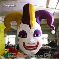 Halloween Decorative Hanging Inflatable Clown Head Replica 3m Height Blow Up Two-faced Mask Model Balloon For Night Party Decoration