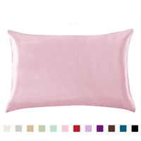 100% Queen Standard Satin Silk Soft Mulberry Plain Pillowcas...