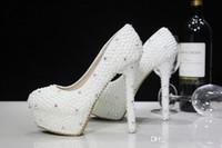 Scarpe da sposa di cristalli di perle di lusso di moda su misura Misura 11 cm Scarpe da sposa con tacco alto Scarpe da ballo per donna Spedizione gratuita