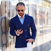 Double Breasted Royal Blue Custom Made Black Mens Suits Groo...