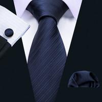Livraison rapide cravate Set bleu marine cravates en soie jacquard pour les hommes d'affaires Mouchoir Manchettes Livraison gratuite mariage chaud en gros N-5087