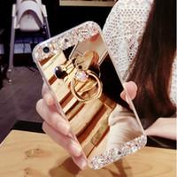كريستال القضية للحصول على هاتف اي فون 11 برو ماكس حجر الراين مرآة فاخر مصمم لتغطية اي فون 7 8 6 6S زائد