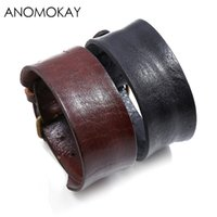 Anomokay Einfache Breite Kuh Lederband Punk Armband Vinatage Rindsleder Herren Armband Zubehör
