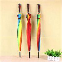 새로운 성인 레인보우 우산 긴 핸들 직선 방풍 우산 다채로운 여성 써니와 비오는 우산 DDA120