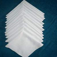 100% de algodón blanco Pañuelo Male Tabla satén Hankerchief toalla cuadrada Knit Sweat-absorbente de lavado de toallas para el bebé adulto YSY309-L
