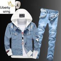 Cascas dos homens dos homens com capuz jaqueta de cowboy zipper jeans dois pedaço conjunto plus size street único buraco breasted rasgado azul denim casaco de casaco