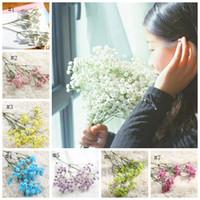 Fleurs artificielles Gypsophila Babysbreath Bricolage fleur floral décoration de mariage Bouquets anniversaire Décoration d'intérieur photo Props 7 couleurs CYL-YW4041