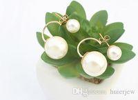 Boucles d'oreilles perle mode jolie gros canal de la Chine bijoux coréenne double perles boucles d'oreilles mariée boucles d'oreilles en or grande boule de bonbons Stud boucles d'oreilles