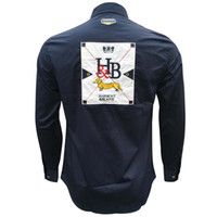 هارمونت بلين الرجال قمصان camisas HOMBRE عدن حديقة الطيران ذكر قميص طويل الأكمام النمط البريطاني القطن الرجال بارك قميص التطريز