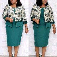 Плюс размера женщины конструктора 2PCS платье Мода Цветочных печати Кружево Щитовые женщины Кардиган Одежда 2PCS платье Комплекты Повседневный Сука Одежда