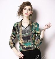 Модные рубашки в стиле ОЛ Женские рубашки Зеленый шарф с цветочным принтом Подробнее Блузки с длинным рукавом с отворотом на шее весна-лето женские блузки