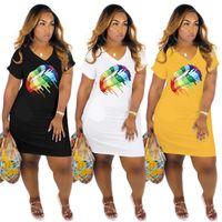 5 Renkler Kadın Gökkuşağı Dudak Baskılı Elbise Yaz V Boyun Kısa Kollu Mini T-shirt Uzun Etek Cep Rahat Gevşek Streetwear Giysileri Ile