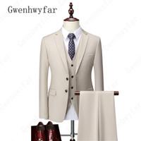 Gwenhwyfar мужские 3 шт. Костюмы для мужчин Стандартный размер S-5XL Terno Masculino Slim Fit Groom Formal Wedding Men Suit (куртка + брюки + жилет)