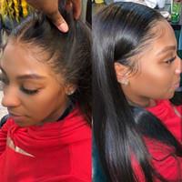 カリーナレースフロントウィッグ自然色ストレートフルレースの人間の髪のウィッグブラジルのレミーの前頭かつらプリプリッキされた黒人女性