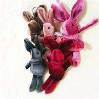 sırt çantası çiçek tavşan Anahtarlık Çocuklar Hediye için 2019 Paskalya dileyerek Tavşan kolye Peluş Bebek Oyuncak Hayvan Doldurulmuş bebek tavşan Pandantifle