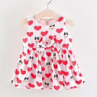 Infant Kid Baby Girl Cartoon stampa cuore senza maniche Princess Dress Clothes Sukienka Niemowlak Dress Baby Lovely Girl Sleeveless