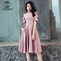 Kadınlar Katı A-Line vestidos Diz Boyu Şık törenlerinde için Skyyue O-Boyun Biçimsel Abiye FR337 Kısa Kollu Ziyafet Elbiseler