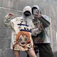 Moda Anime Erkekler Hoodies 2020 Sonbahar Erkek Casual Fleece Hoodie Sweatshirt Erkekler Kadınlar One Piece Baskı Kapüşonlular Harajuku Tops