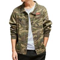 Fashion Design `s degli uomini Camouflage Giacca di jeans Street Style multi tasche dei jeans giacca e cappotti a maniche lunghe