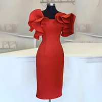 Women Red Bodycon Dresses Ruffles Stylish Party Event Midi D...