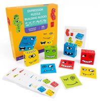 Çocuk Günü Bebek Ahşap İfade Bulmaca Oyunu Oyuncaklar Çocuklar Bebek Komik Bulmacalar Oyuncak Çocuk Doğum Günü Hediyesi Renkli Kutu Ile Set
