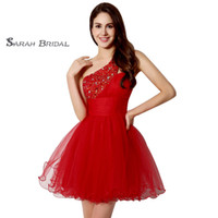 Sexy Red One Shoulder Short Length Beads and Sequins Sleevel...