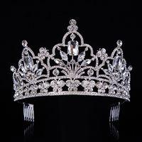 Hot Silver Crystal GRANDE Queen Pageant Crown Noble Strass Diadem Tiaras per Principessa Fascia per capelli per matrimoni Accessories-029 CJ191226