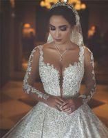 2019 Роскошные Кружева Аппликация Арабский Мусульманский Длинные Рукава Свадебные Платья Винтаж Принцесса Саудовская Аравия Дубай Плюс Размер Свадебное Платье