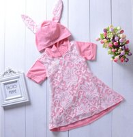 2019 new baby girl dress autumn Big ear net with hat pink dr...