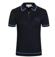 Ca * ste * llo d'Oro kurzärmliges T-Shirt Herren 2019 neue Business Mode Reißverschluss Britisches besticktes Hemd