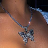 Gelado para fora borboleta pingente colares luxo mulheres prata prata cor-de-rosa cor-de-rosa choker cadeia moda cúbico zirconia strass bling festa jóias