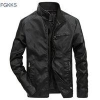 FGKKS Automne Hiver Veste en cuir hommes coupe-vent Vestes en cuir homme Pu Moto Mode Vestes Homme