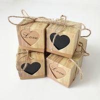 Vintage Kraft Paper Hollow Out Love Heart Gunst Gift Box Bruiloft Verjaardagsfeestje Handgemaakte Zeep Sieraden Candy Wrap Verpakking Dozen 5x5x5cm