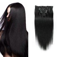 ChinaMachine مزدوجة اللحمة كليب في الامتدادات الشعر 100٪ الإنسان ريمي الشعر 10-30 بوصة طويل حريري مستقيم 1B #