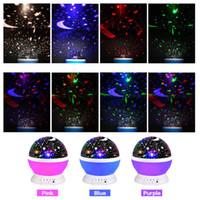 RGB LED Proiettore rotante Lampada da notte Cielo stellato Lampada da proiezione romantica Luna Cielo Lampada da notte romantica Novità