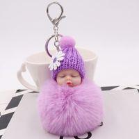 MOQ: 30PCS Sleeping Gioielli bambino portachiavi con il cappello di Daisy bambole della peluche del pendente Portachiavi ragazze Bag Decoarations per le donne