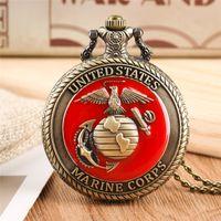 Vintage United State Marine Corps Theme Quarz Taschenuhr Mode Rote Souvenir Anhänger Halskette Kette Militäruhren Top Geschenke