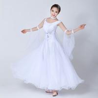 Vestido de baile de salón de salón estándar de desgaste de la etapa Mujeres 2021 Waltz baile falda adulto blanco competencia vestidos