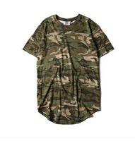 Oi-rua Sólidos Curvo Hem T-shirt Dos Homens Longline Camuflagem Estendida Hip Hop Camisetas Urban Kpop Camisetas Roupas Masculinas 6 Cores