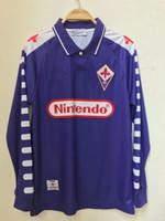 الرجعية الكلاسيكية 1998 1999 فيورنتينا فلورنسا BATISTUTA طويلة الأكمام لكرة القدم الفانيلة الرجعية لكرة القدم قميص كامل S-2XL