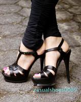Новый Tribute Patent / Мягкая кожа платформы сандалии Женская обувь T-ремешок высоких каблуках сандалии леди обувь Pumps Оригинальный кожаный C09