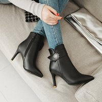 Sexy Pointed Side Zip Boots For Women Shoes Rhinestones Stil...