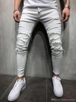 Erkek Giyim Pantolon Erkekler Beyaz Slim Fit Jeans Yırtık Moda Erkek Genç Dökümlü HIPHOP Kaykay Kot