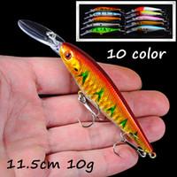 10pcs / lot 10 colori misti 3D Occhi ciprinidi di plastica dura esche Esche 11,5 centimetri 10g 6 # Pesca Ganci BL_26