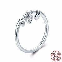 Mode Nieuwe Design Wit Kleur CZ Sieraden Korea Mode-sieraden 925 Sterling Zilveren Hartvorm Ringen voor Dames Valentijnsdag Gift