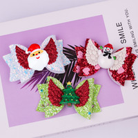 Christmas flash hair accessories 3 inch bow hairpin wings po...