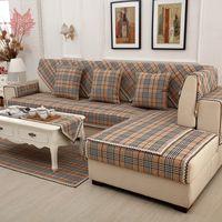Britânicos sofá marrom xadrez tampa lençóis de algodão rendas decoração slipcovers secionais canape móveis cobre fundas sofá SP3618 de