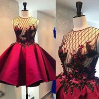 Ny kristall 3d blomma kort homecoming prom klänningar illusion vin röd puffy cocktail klänning mode formella festklänningar